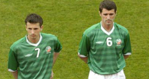 Liam Miller alongside Roy Keane ahead of the Republic of Ireland's friendly game against Romania at Lansdowne Road in 2004. Frustration rather than elation was the overriding emotion during his teenage years.