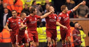 Steven Gerrard celebrates scoring the equalising goal
