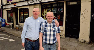 Ted O'Connell and Marcus McCann outside Loafer's Bar on Douglas St, Cork City.