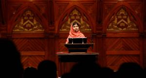 Malala Yousafzai speaking at Harvard University. Picture: AP/Jessica Rinaldi