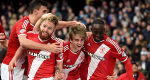 Middlesbrough's Patrick Bamford (second right) celebrates scoring his side's first goal yesterday. Pic; PA