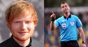 Ed Sheeran (left) and Mark Clattenburg