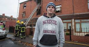 Mark Furlong on Gloucester Place, off Sean McDermott St, where he saved the life of baby Mila. Pictures: Collins