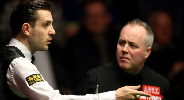 John Higgins and Mark Selby all level at first break