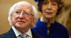 President Michael D Higgins and wife Sabina during the president's state visit to the UK. Picture: Steve Parsons/PA Wire