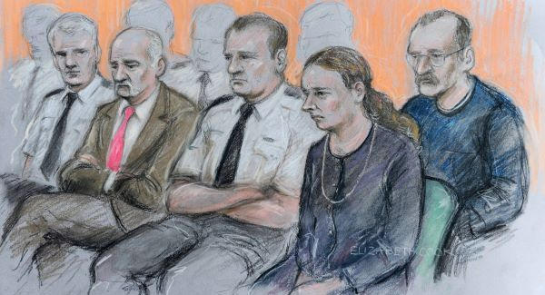 Mick Philpott (second from left) and wife Mairead (second from right) appear at Nottingham Crown Court along with Paul Mosley (right) ahead of their trial for the manslaughter of their six children in a house fire. Picture: PA