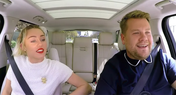 'We Can't Stop' watching Miley Cyrus' Carpool Karaoke with James Corden