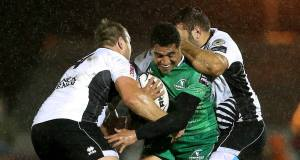 Connacht's Mils Muliaina tackled by Andries Ferreira and Luca Redolfini of Zebre. Picture: INPHO/James Crombie