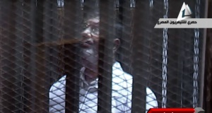 Mohammed Morsi in court today. Picture: AP Photo/Egyptian State TV