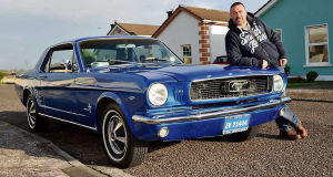 Martin Chandley with his 1966 Ford Mustang. His luxury Mustang was built in San José, California.