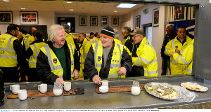 TEA TIME: Stewards Noel Hughes and Barney Mone having  a cup of tea before the tempestuous  Armagh and Tyrone McKenna Cup clash at the Athletic Grounds, Armagh. Picture: Oliver McVeigh
