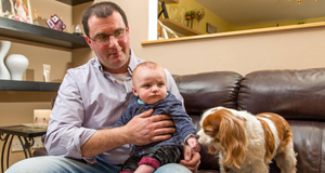 Check it out: Noel McGrath is waiting for his son Shea to be genetically tested for Long QT. They are pictured at home, in Riverstown, Co Sligo, with family pet Daisy.