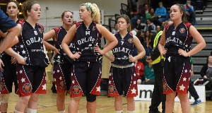 Dejected Oblate Dynamos players after the game. Basketball Ireland Senior Women's Cup Final, Oblate Dynamos v Portlaoise Panthers BC. National Basketball Arena, Tallaght, Dublin. Picture credit: Paul Mohan / SPORTSFILE