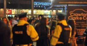 Police patrol outside the Odyssey Arena. Picture: Justin Kernoghan