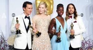 Cate with fellow Oscar winners Matthew, Lupita and Jared. Pic: Ian West/PA