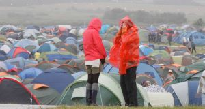 Festival-goers at an Oxegen campsite prior to the festival opening yesterday.. Picture: Mark Stedman/Photocall Ireland.