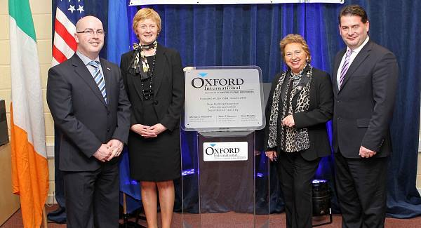 John Murray, European Operations Manager, Brid Somers, IDA Ireland, Rosarie Quinlan, IDA South Region and Dara Murphy TD, at the opening of the extension to the Oxford International European Headquarters. Pic: Jim Coughlan