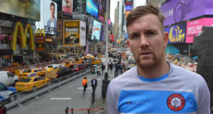 PJ Banville (Wexford) pictured at Times Square. Banville will line out for New York this weekend. Picture: John Riordan/New York GAA
