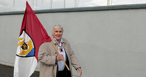NAILING HIS COLOURS: Former Irish international and Galway supporter Paddy Mulligan on his way to a Galway SHC game at O'Connor Park, Tullamore. Picture: Ray McManus