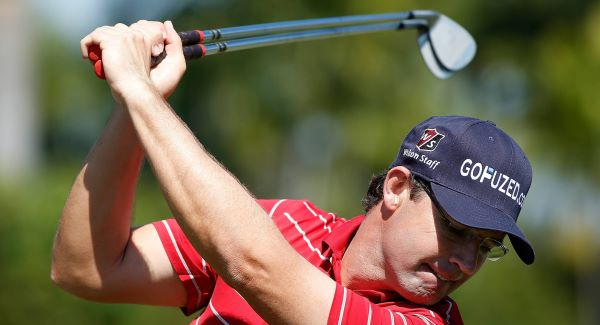 SEEING DOUBLE: Padraig Harrington takes a practice swing before the second round of the  Cadillac Golf Championship in Doral, Florida yesterday. Picture: AP