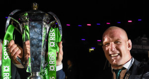 Paul O'Connell celebrates with the RBS Six Nations trophy. Picture: Sportsfile