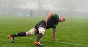 Paul O'Connell training with Ireland yesterday