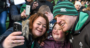 IN FOCUS:  Ireland supporters Sarah, left, and Katy McAree, from Navan, Co. Meath, take a selfie with Ireland's Paul O'Connell during squad training at the Aviva Stadium yesterday. Picture: Sportsfile