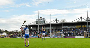 Waterford's Pauric Mahony scoring the winning point from a free against Tipperary in the NHLDivision 1 semi-final. Picture: Sportsfile