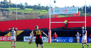 Conor Fitzgerald of Ardscoil Rís kicks the match-winning penalty against Presentation Brothers College in the Seat Munster Schools Senior Cup semi-final at Musgrave Park, Cork. Picture: Denis Minihane