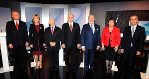 The seven pictured before the debate. Picture: Brian McEvoy
