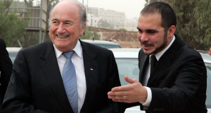 Incumbent Sepp Blatter with Prince Ali Bin Al Hussein, right.