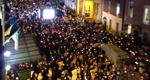 A pro-life campaigner's vigil in Dublin on December 4 last year.