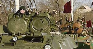 Russian-backed rebels in convoy on the streets of Stakhanov