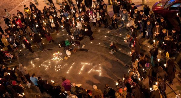 A candlelight vigil takes place in memory of Savita Halappanavar outside Cork Opera House. Picture: Michael MacSweeney/Provision