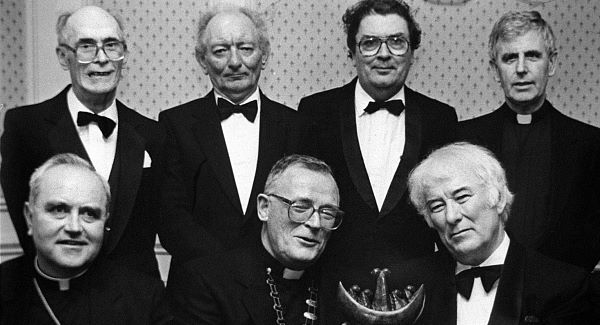 Seamus Heaney (front right) with Brian Friel and John Hume, (back row, 3rd and 2nd from right) at a St Columb's College function in Derry where they shared a common teacher in Mr Sean B O'Kelly, (Back row, extreme left). Pic: Photopress