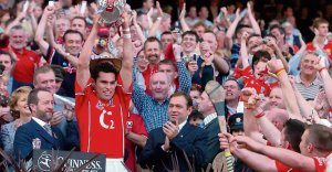 Captain Seán ÓgÓ hAilpín lifts the Liam MacCarthy Cup after Cork's win over Galway in the 2005 All-Irelandfinal. Picture: David Maher / Sportfile