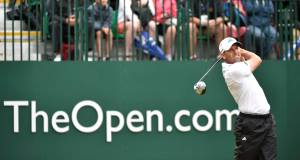 Sergio Garcia tees off on the first this morning. Picture: Owen Humphreys/PA