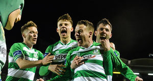 HAPPY HOOP: Shamrock Rovers striker Danny North celebrates his goal at Tallaght Stadium last night.