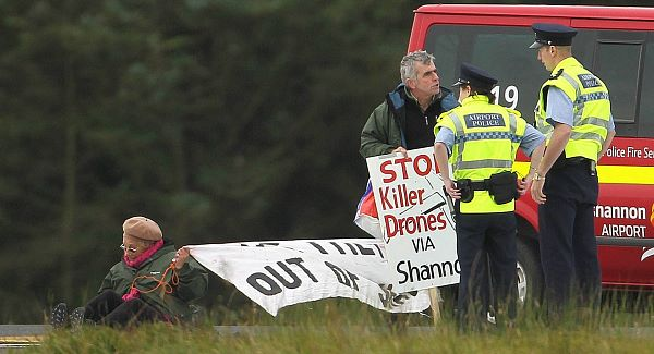 Shannon Peace activists Niall Farrell and Margaretta D'Arcy in their attempt to block the runway of Shannon Airport in 2012.