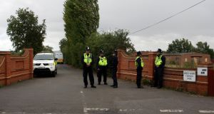 Police at the Greenacre caravan site in Leighton Buzzard.