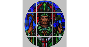 St. Patrick, in nine panels by the Harry Clarke Studio atFonsie Mealy's auction next week (€1,000-€1,500).