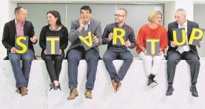 Barry Guiney; Siobhán Finn; Donncha O'Callaghan; Blaine Doyle; Veronica Kenneally; and Diarmuid Lynch, promoting Startup Gathering 2015.