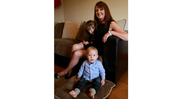 Fiona Montague, who set up a part-time business at home, with her daughter Abigail and son Noah.