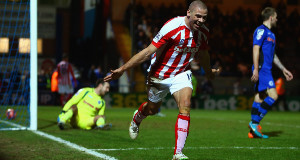 Ireland striker  Jonathan Walters celebrates after scoring Stoke's fourth goal in their 4-1 victory over Rochdale. Picture: Richard Heathcote/Getty