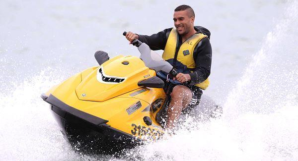Simon Zebo jetskiing in Noosa