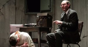 David McSavage (right) and PeterCampion in ThePillowman byMartin McDonagh.Picture: Mike Shaughnessy