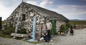 Katie Sanderson and Jasper O'Connor in front of the converted boat shed used for the 'Dillisk project', a series of dinners held in a converted boat shed in Aughrusbeg, close to Cleggan, Connemara, Galway