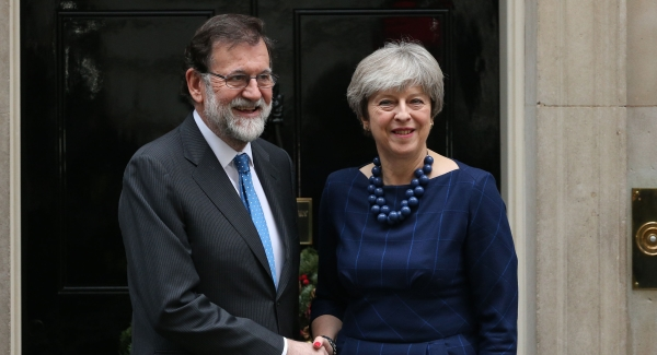 May reiterates support for central Spanish government in ongoing Catalonia dispute