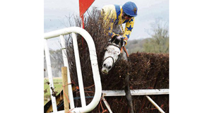Thewheelrake and Johnny King get stuck in the last fence in the 5&6-Y-O Geldings Maiden at the Durrow point-to-point. Picture: Healy Racing