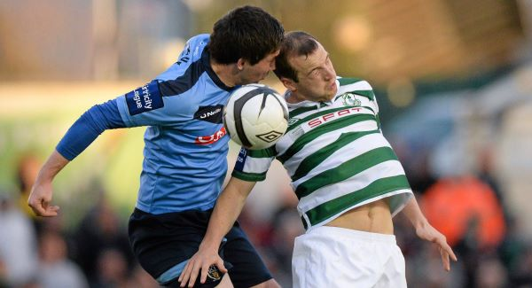 Karl Sheppard, Shamrock Rovers, in action against Tomas Boyle, UCD. Picture: Sportsfile
